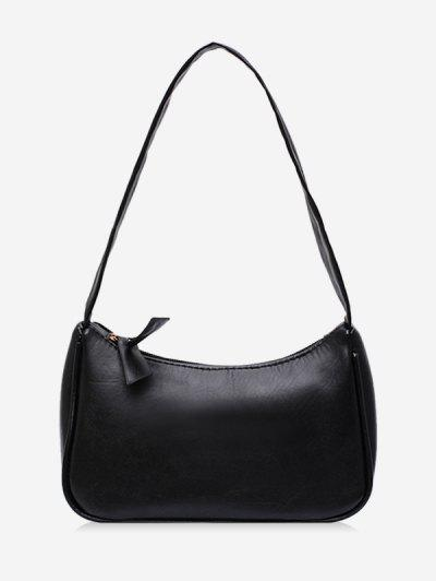 Solid Portable Shoulder Bag - Black