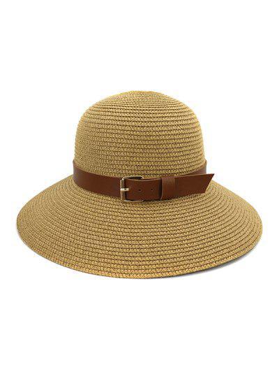 Wide Brim Straw Hat With Wide Belt - Khaki