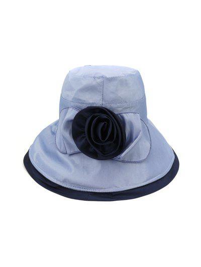 Bowknot Wide Brim Bucket Hat - Light Blue