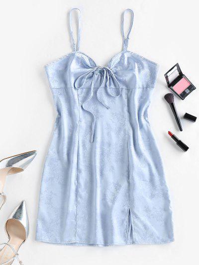 ZAFUL Flower Jacquard Slit Bowknot Backless Dress - Light Blue S