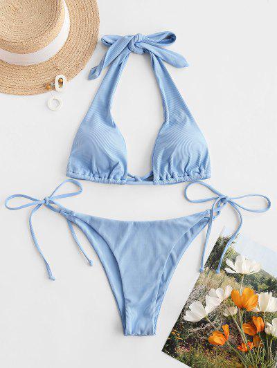 Bikini Ruvido Di ZAFUL Con Stampa Di Gelato Suit - Celeste Chiaro L