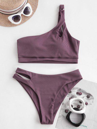 ZAFUL Ribbed One Shoulder Keyhole Cutout Tankini Swimwear - Dull Purple M