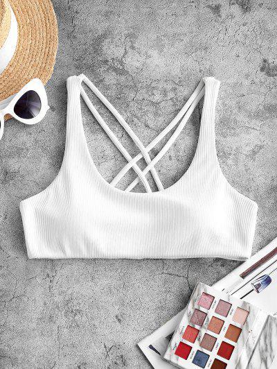 ZAFUL Crisscross Back Ribbed Bikini Top - White M