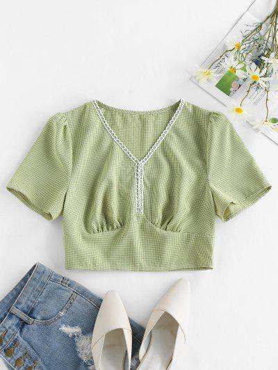 ZAFUL Plaid Picot Trim V Neck Crop Blouse - Green S