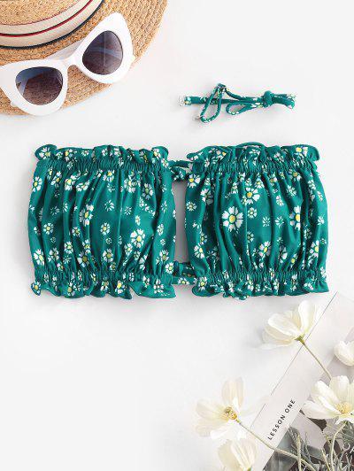 ZAFUL Ditsy Print Tie Bandeau Bikini Top - Medium Sea Green M