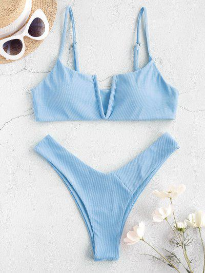 ZAFUL Depth Of Water V-notch Bikini Swimwear - Day Sky Blue S