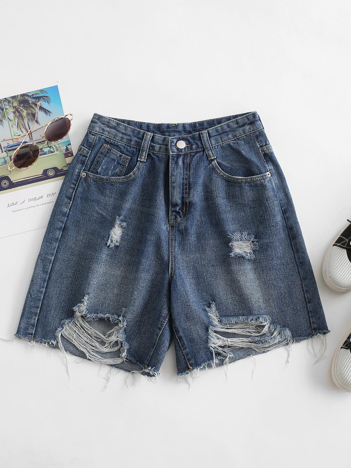 Distressed Bermuda Jean Shorts
