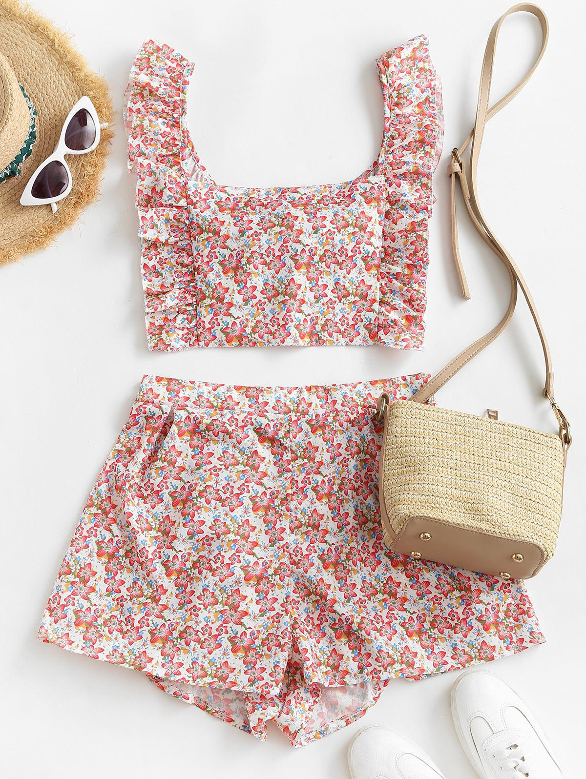 Ditsy Floral Ruffles Tie Back Two Piece Set