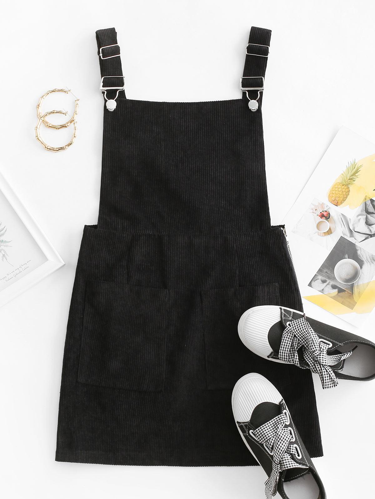 Side Zip Corduroy Overall Dress