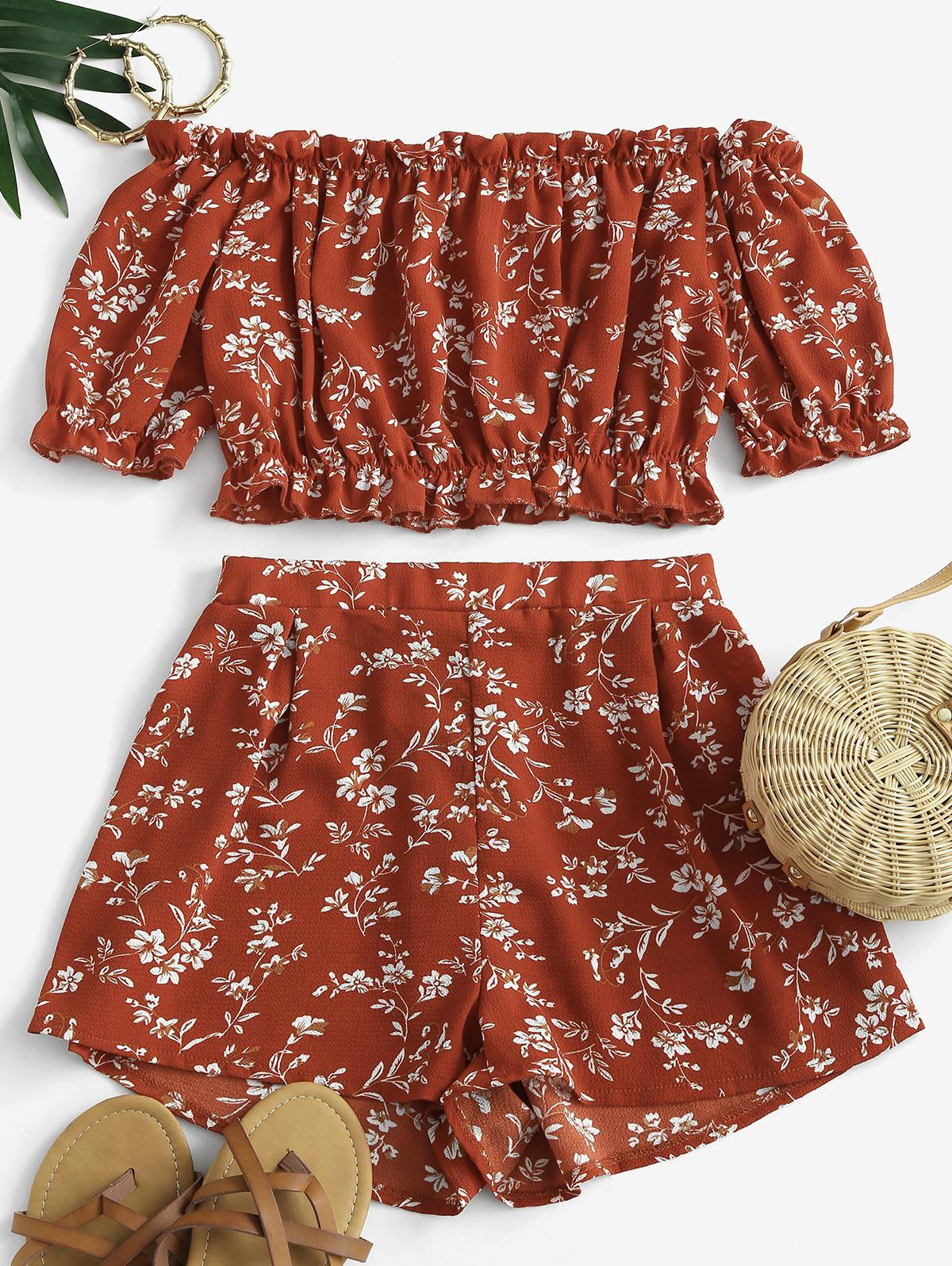 Cropped Ditsy Floral Off Shoulder Two Piece Set