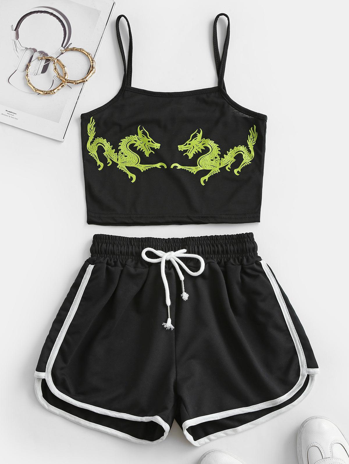 Two Piece Dragon Oriental Dolphin Shorts Set