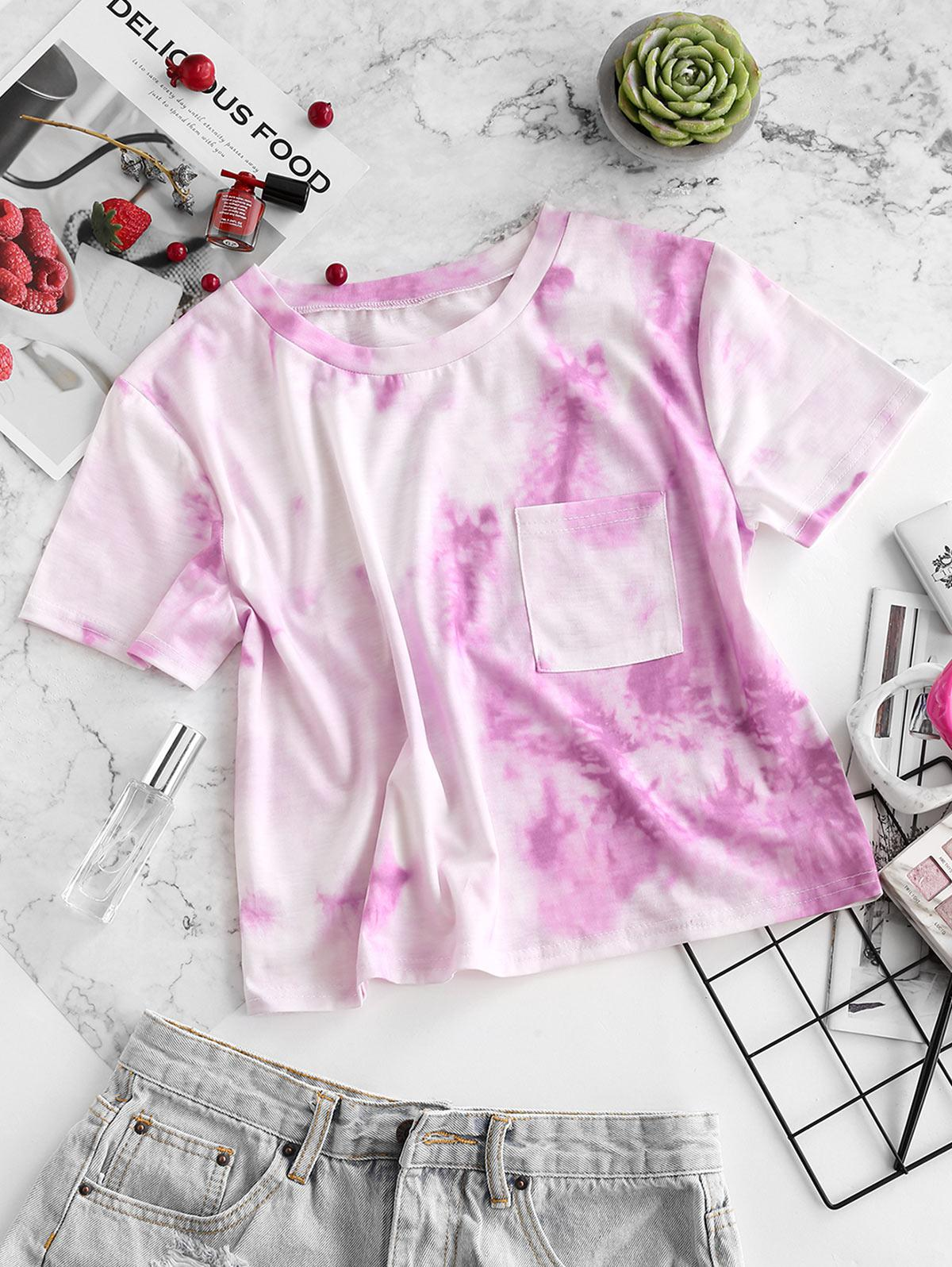 ZAFUL Tie Dye Pocket Short Sleeve T-shirt