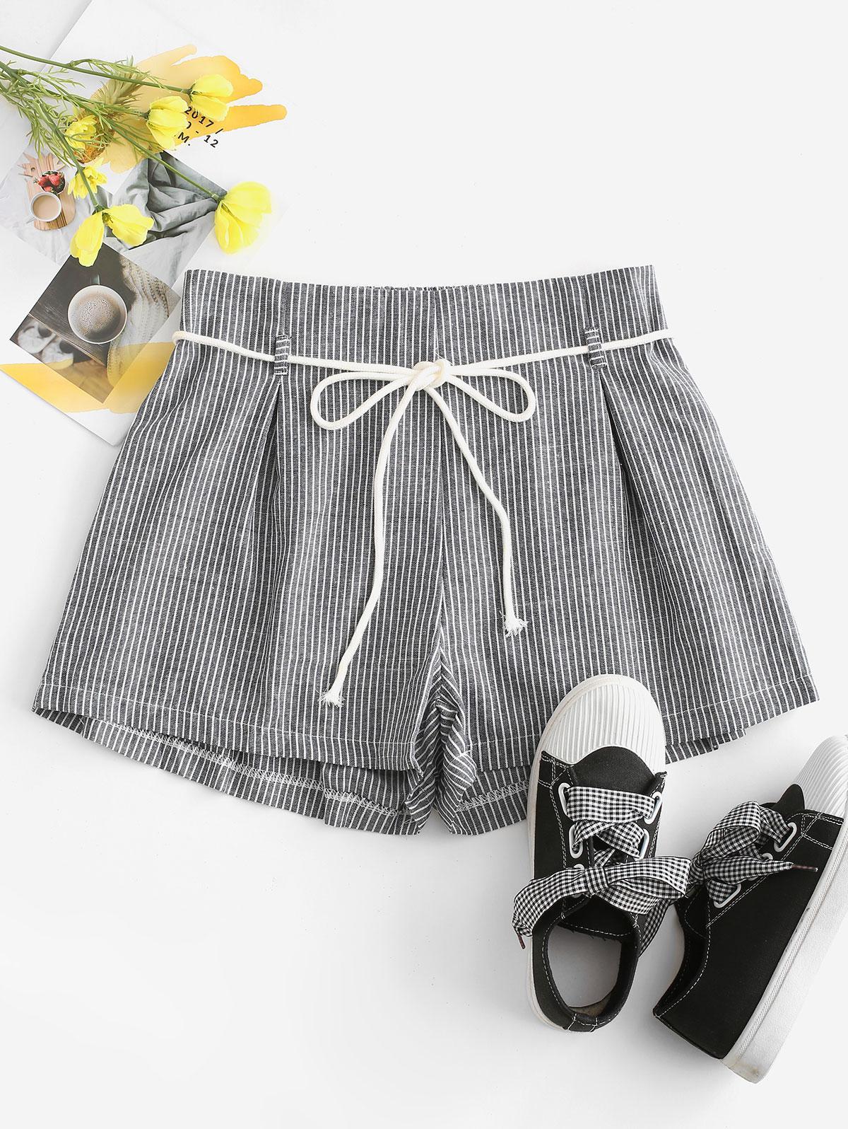 Vertical Striped Belt Shorts