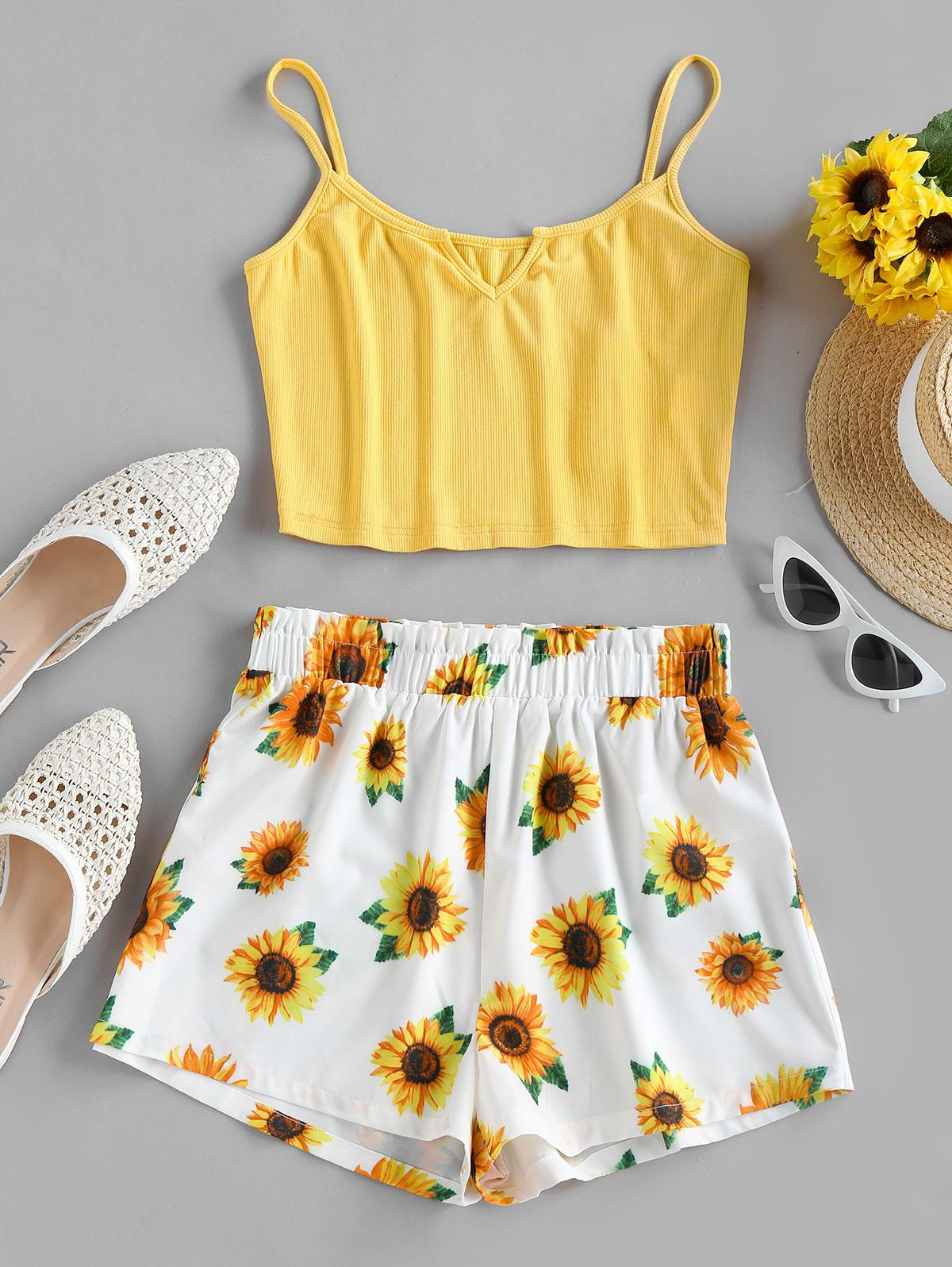 ZAFUL Sunflower V Notch Ribbed Shorts Set