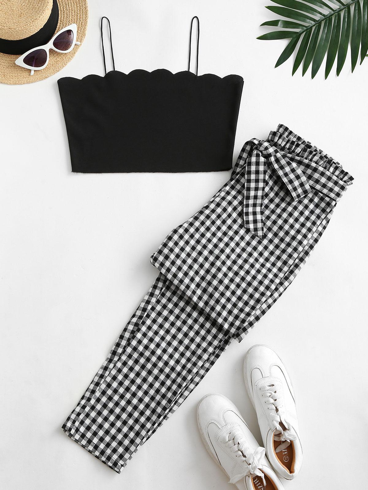 Scalloped Plaid Tie Waist Paperbag Pants Set