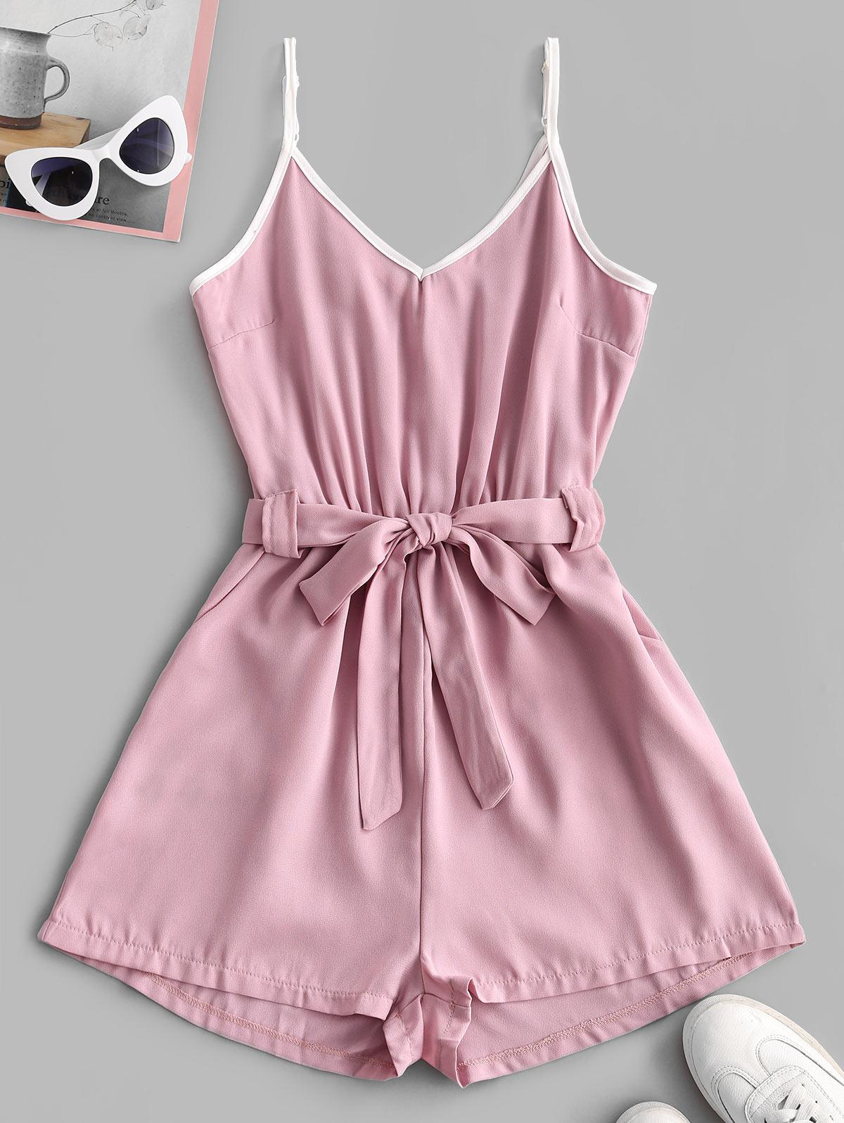 Spaghetti Strap Contrast Piping Belted Romper