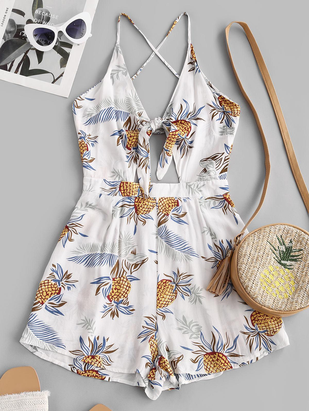 Pineapple Knotted Criss Cross Romper