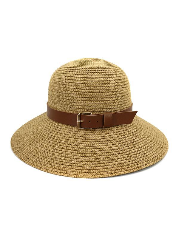 Wide Brim Straw Hat With Wide Belt