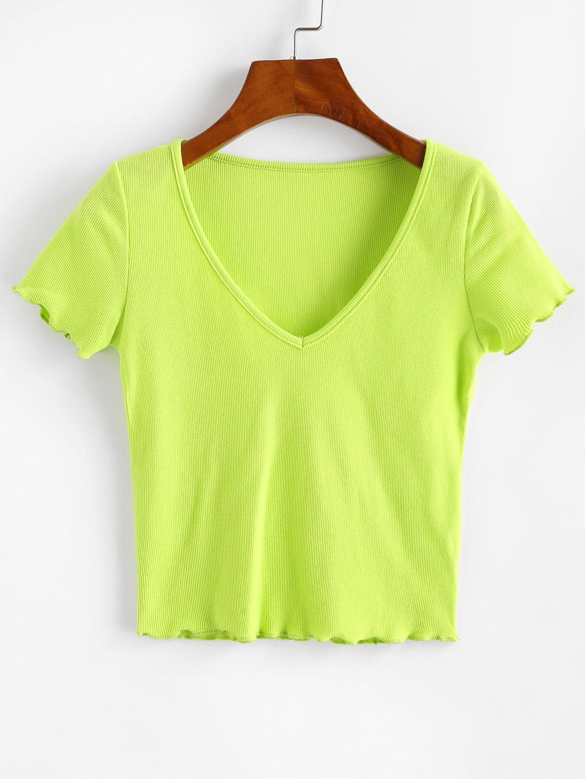 Solid V Neck Ribbed Tee