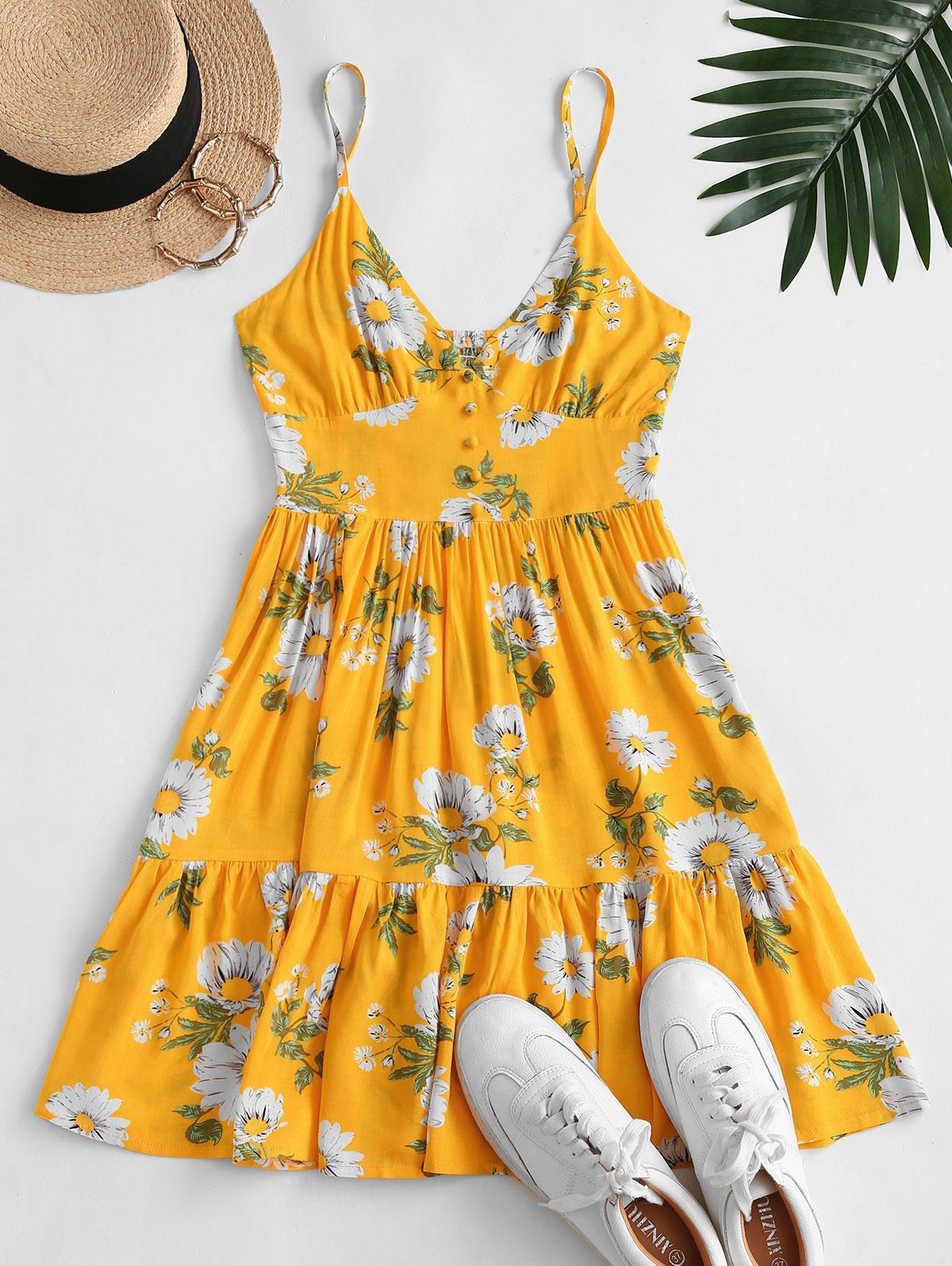 ZAFUL Flower Smocked Mock Button Flippy Hem Dress