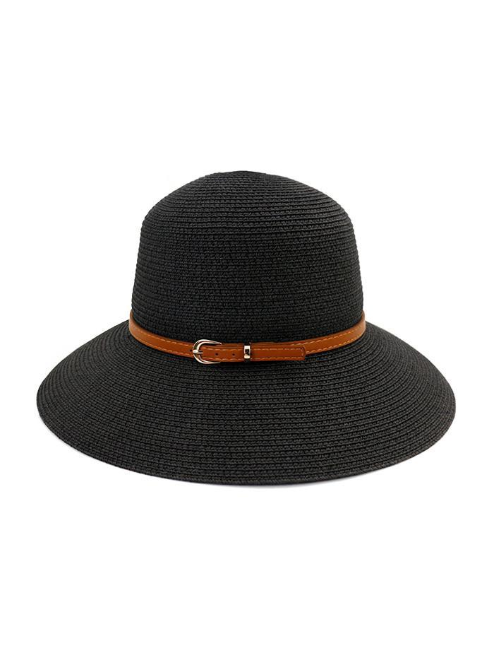 Contrast Belt Wide Brim Straw Hat