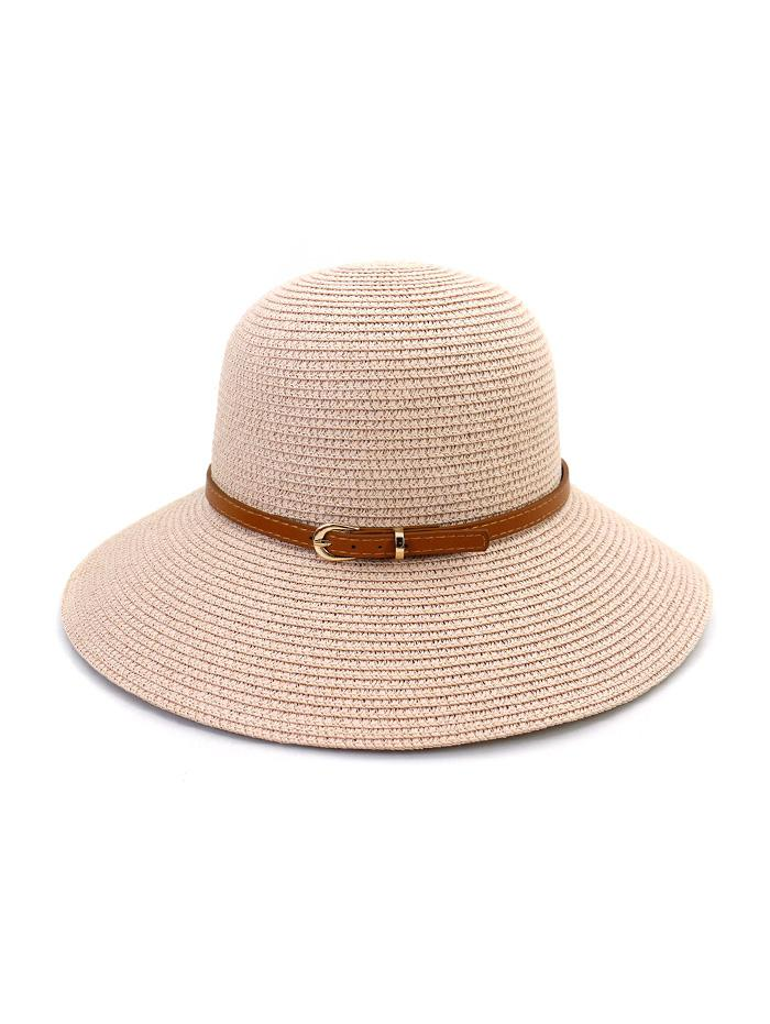 Contrast Belt Wide Brim Straw Hat