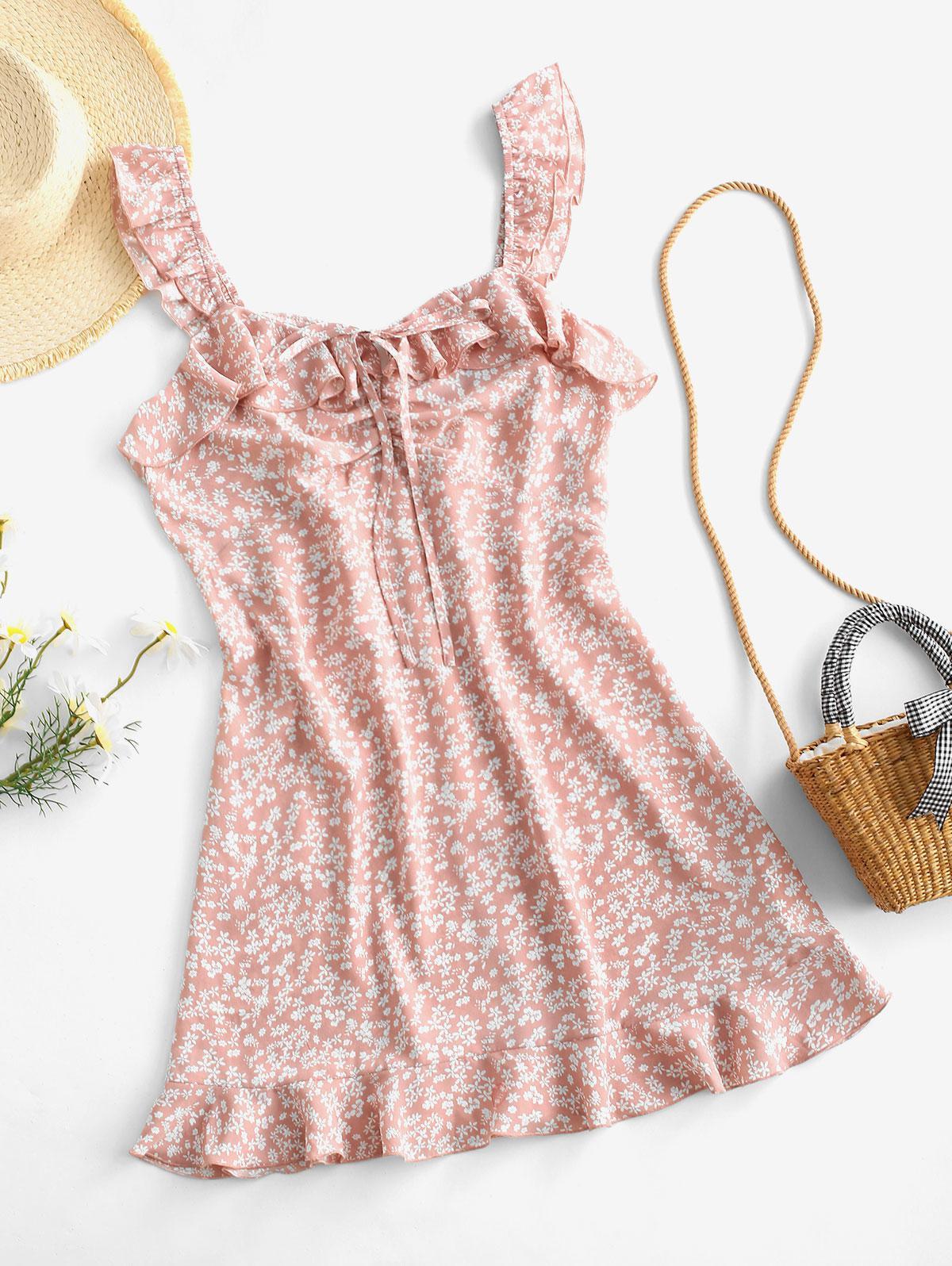 ZAFUL Ditsy Print Ruffle Ruched Mini Dress