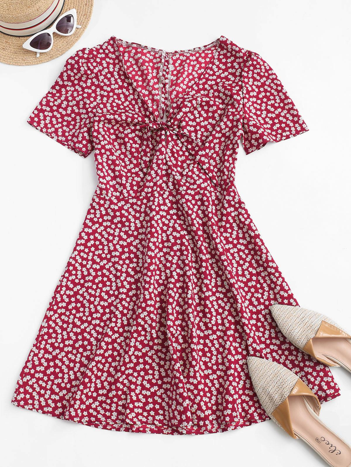 Ditsy Print Tie Knot Plunging Mini Dress