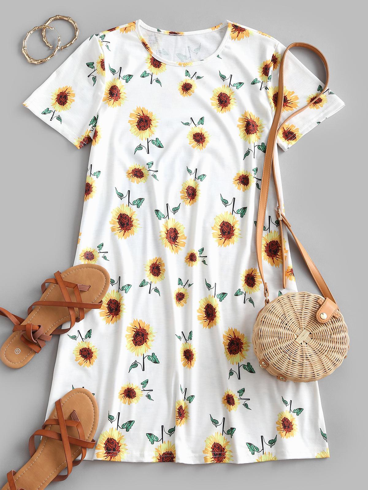 Sunflower Print Trapeze T-shirt Dress