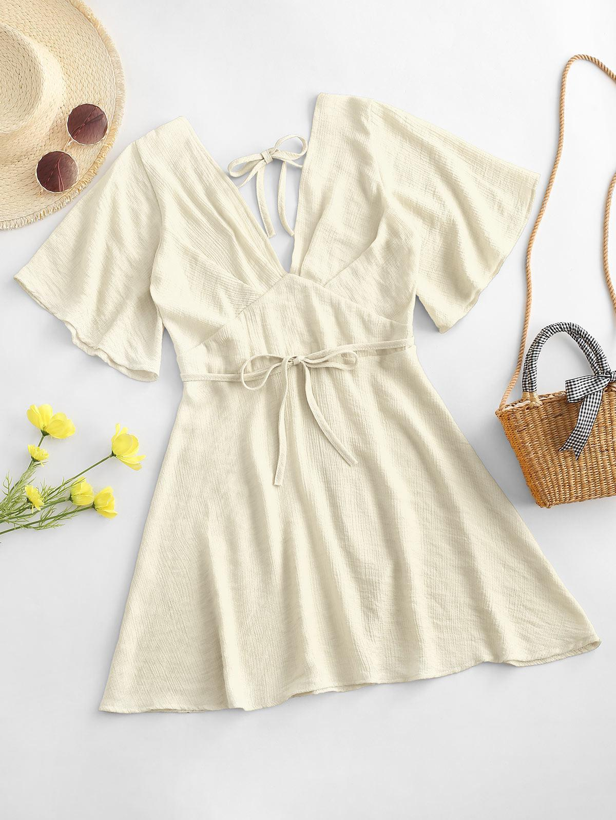 Plunging Open Back Tie Textured Dress