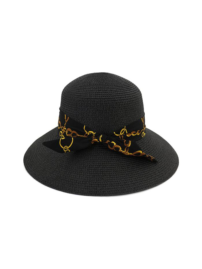 Chain Print Bowknot Wide Brim Straw Hat