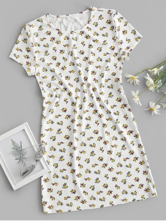 trendy Ribbed Ditsy Floral T-shirt Dress - WHITE S