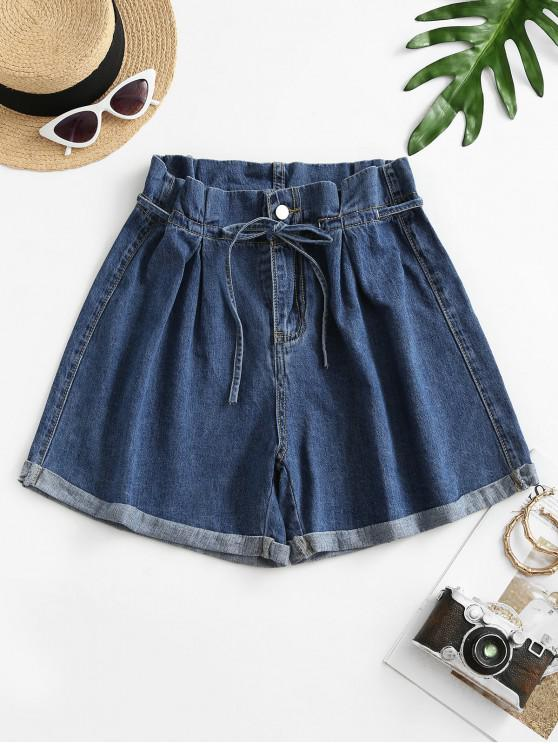 buy Denim Cuffed Hem Paperbag Shorts - DEEP BLUE M