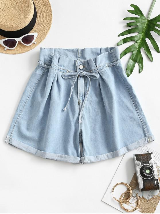 women Denim Cuffed Hem Paperbag Shorts - LIGHT BLUE L