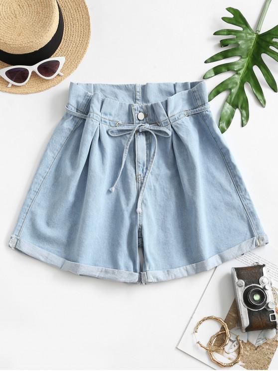 Denim Cuffed Hem Paperbag Shorts - أزرق فاتح L
