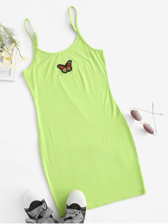 Vestido Al Cuerpo Empalme Mariposa y Parches - Verde S