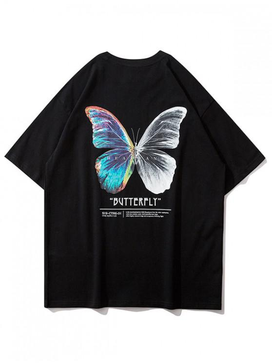 trendy Butterfly Graphic Basic T Shirt - BLACK L