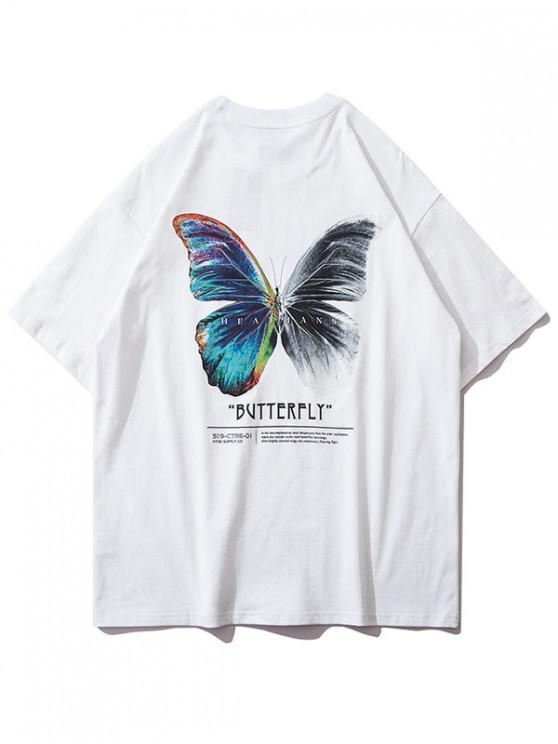 Butterfly Graphic Basic T Shirt - أبيض L