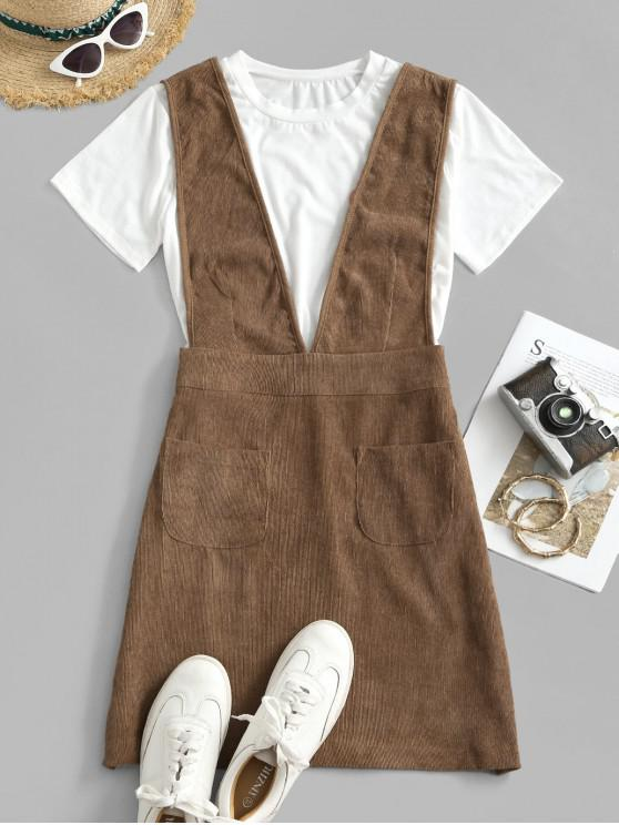 hot Dual Pocket Corduroy Casual Overalls Dress - COFFEE S