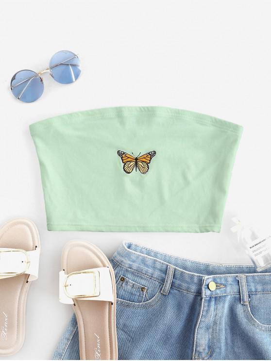 Trägerloses Top mit Schmetterlingsbestickung - Grün M