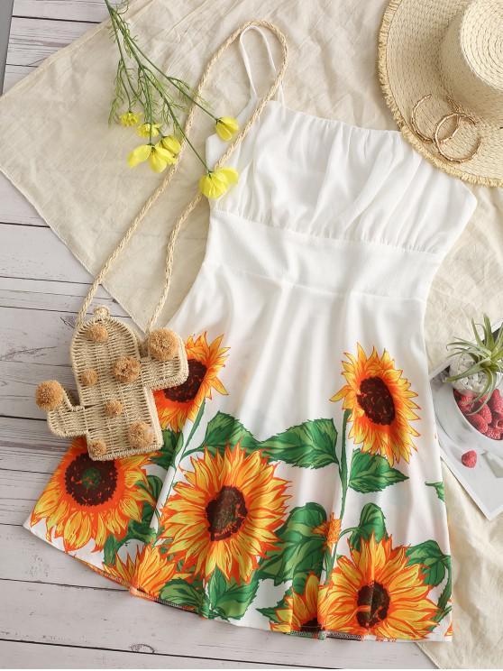 sale Cami Ruched Sunflower Mini Dress - WHITE M