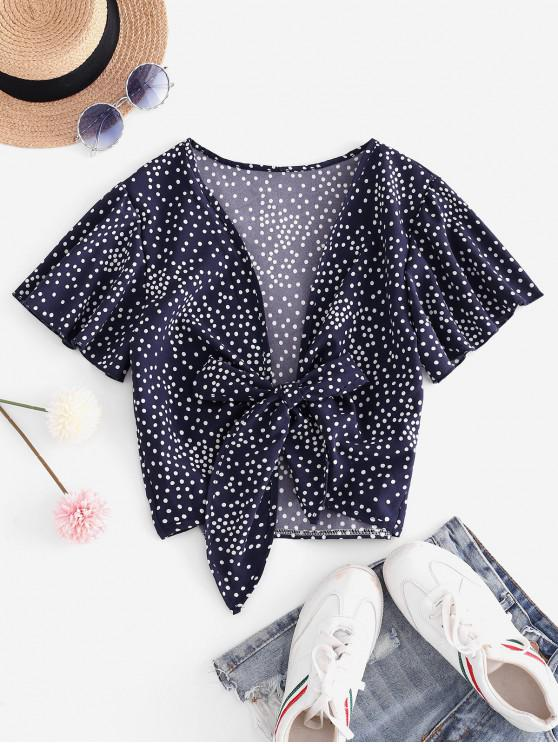 trendy Tie Front Dotted Cropped Blouse - DEEP BLUE L