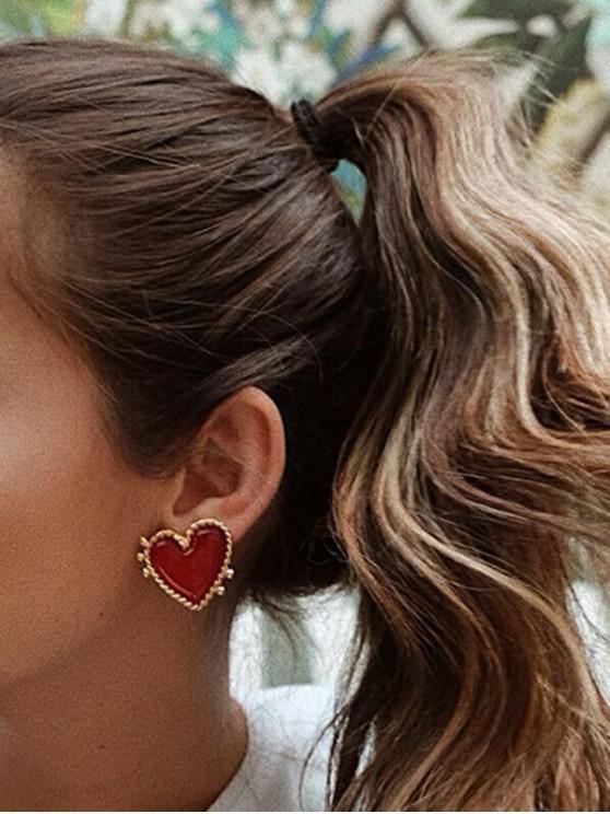 Forma de inima glazurate Stud cercei - Auriu