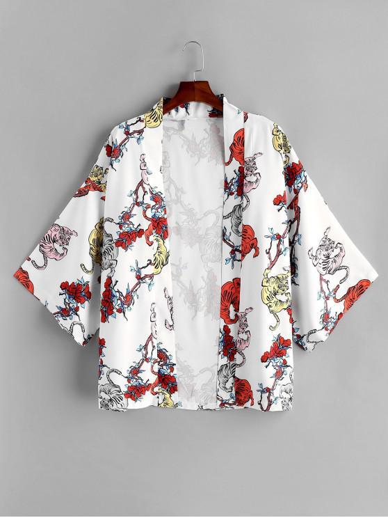 Kurzärmliges Hemd mit Tiger Blumendruck - Weiß 2XL