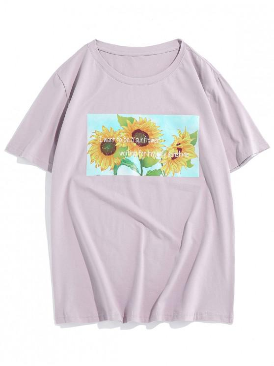 affordable ZAFUL Sunflower Letter Printed Casual T-shirt - LIGHT PURPLE 2XL