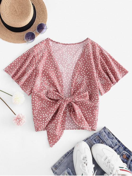 lady Tie Front Dotted Cropped Blouse - LIGHT PINK S