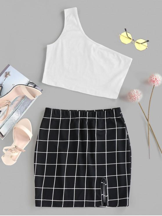 outfits ZAFUL One Shoulder  Grid Two Piece Dress - WHITE M