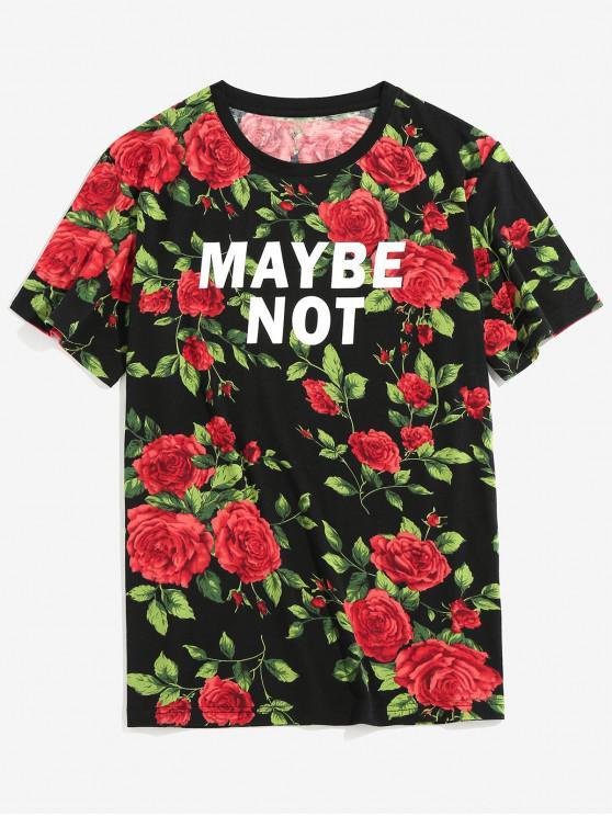 ZAFUL Rose Scrisoare Imprimare mâneci scurte T-shirt - Negru 2XL