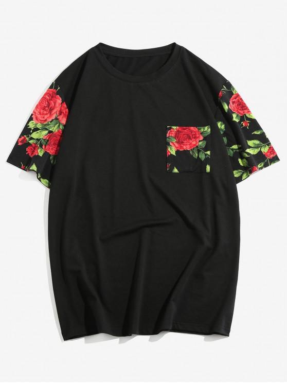 ZAFUL Rose Print Short Sleeves T-shirt - أسود S