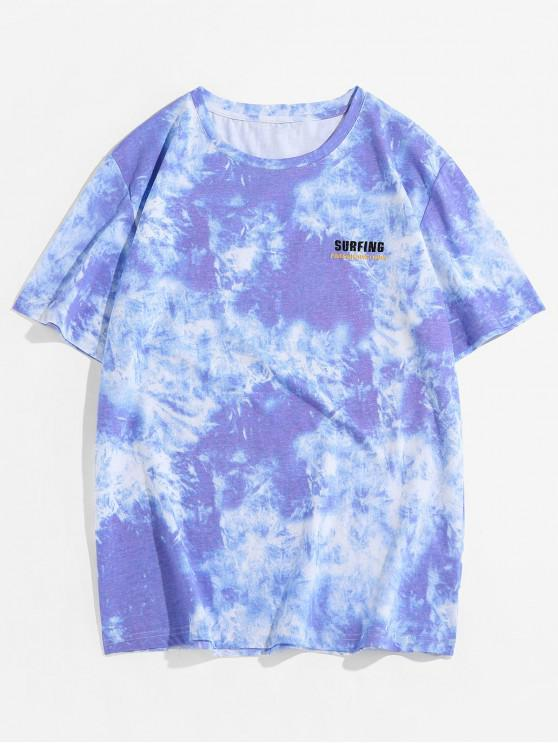 lady ZAFUL Tie Dye Printing Short Sleeves T-shirt - PURPLE 2XL